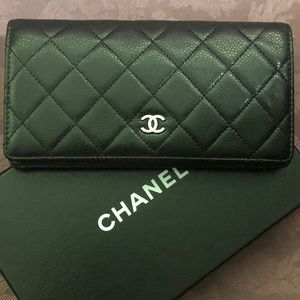 Chanel Large Quilted Caviar Wallet